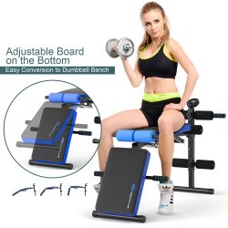 Goplus Multi-Functional Foldable Weight Bench Adjustable Sit-up Board w/ Monitor Blue Thumbnail