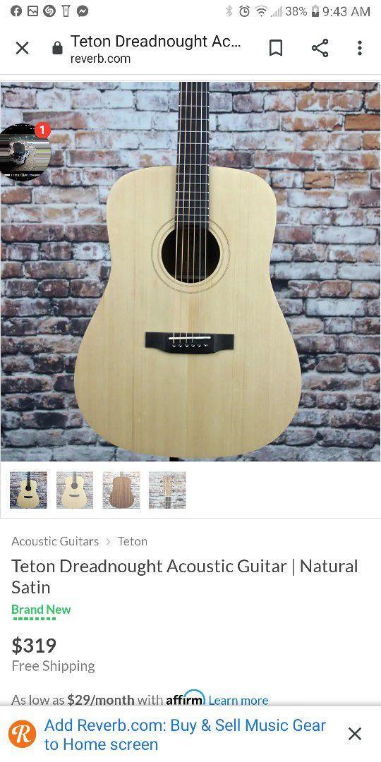 New Teton Acoustic Guitar Natural Finish