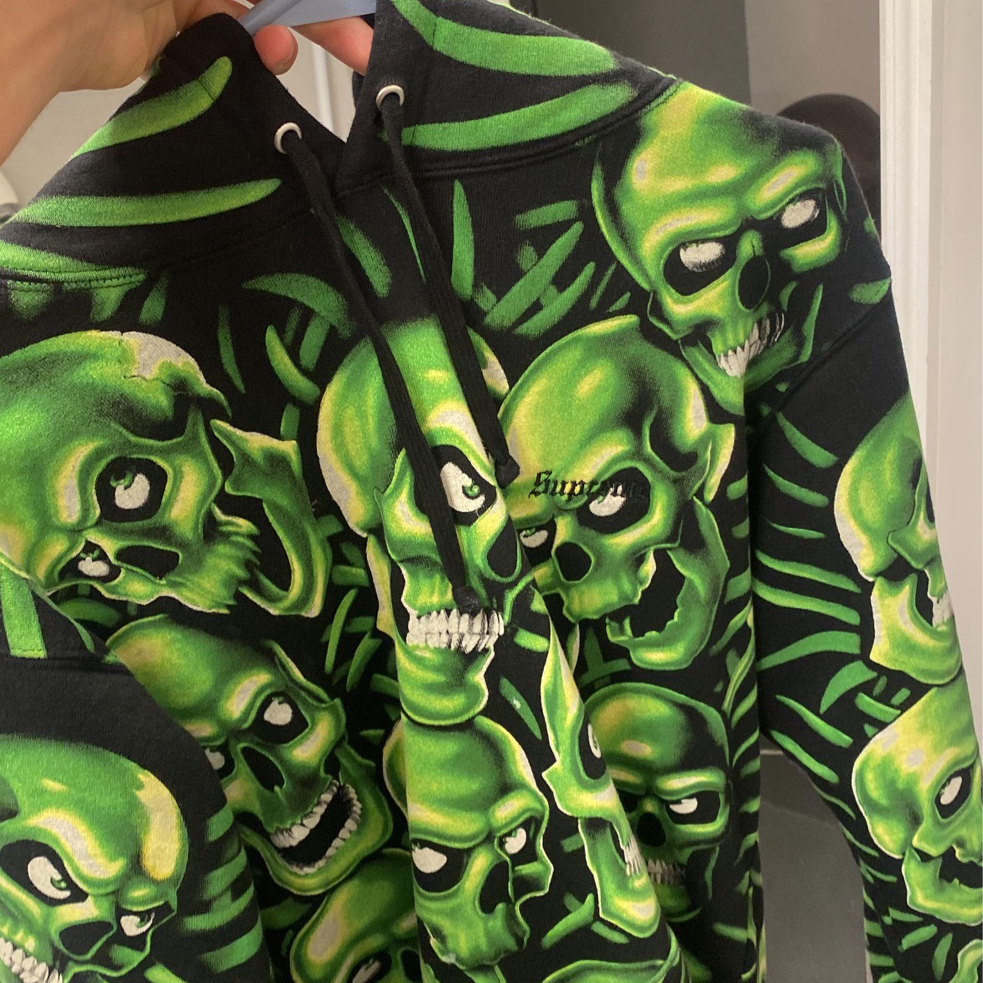 Supreme Hooded Green Skull Hoodie