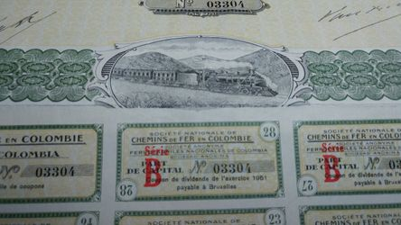 1927 Colombia Railroad bond share certificate Thumbnail