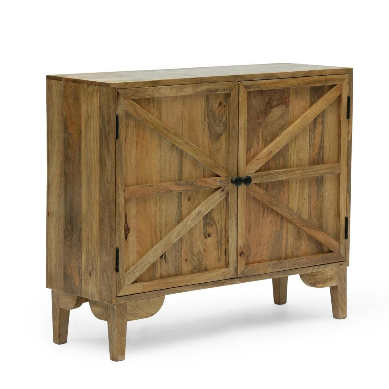 Teton Farmhouse Handcrafted Mango Wood 2 Door Cabinet, Natural