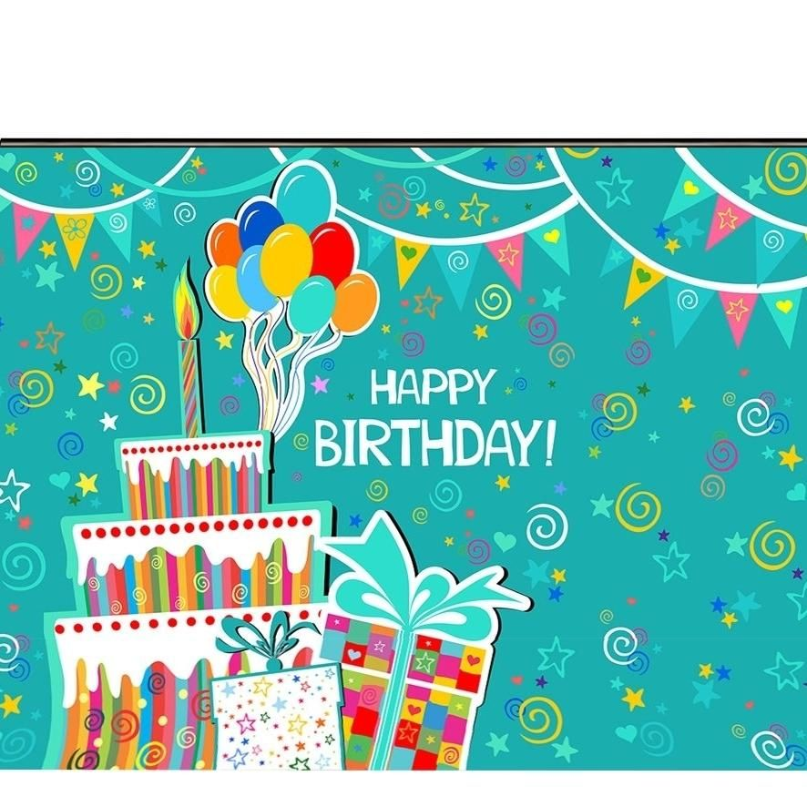 7x5ft Happy Birthday Photography Backdrop Cake Balloon Photo Background Photo Booth Props
