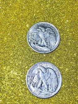  1934 and 1947 Walking Liberty Silver Half Dollar  Thumbnail