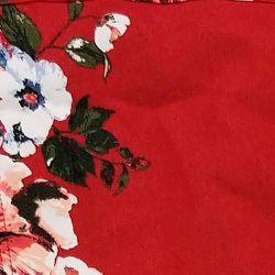 DG2 by Diane Gilman Women's Sz M Floral Print Denim Jacket Red 646504 Thumbnail