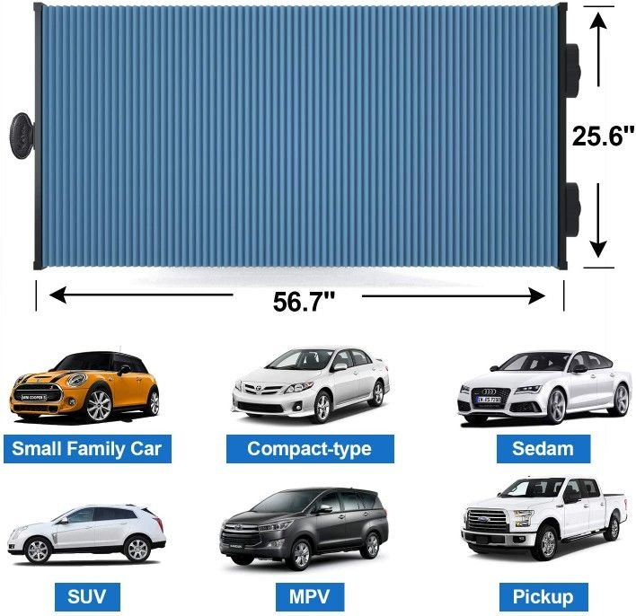 """Retractable Double Layer Honeycomb Sun Shade Windshield Cover for Cars with Strong Suction Cup 25.6""""x 56.7"""" Max Size"""