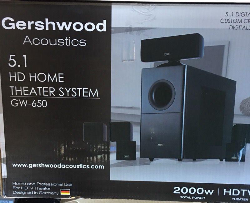 Gershwood Acoustics 5.1 HDTV 2000 watt surround sound system with Marantz Amp Receiver Negotiable