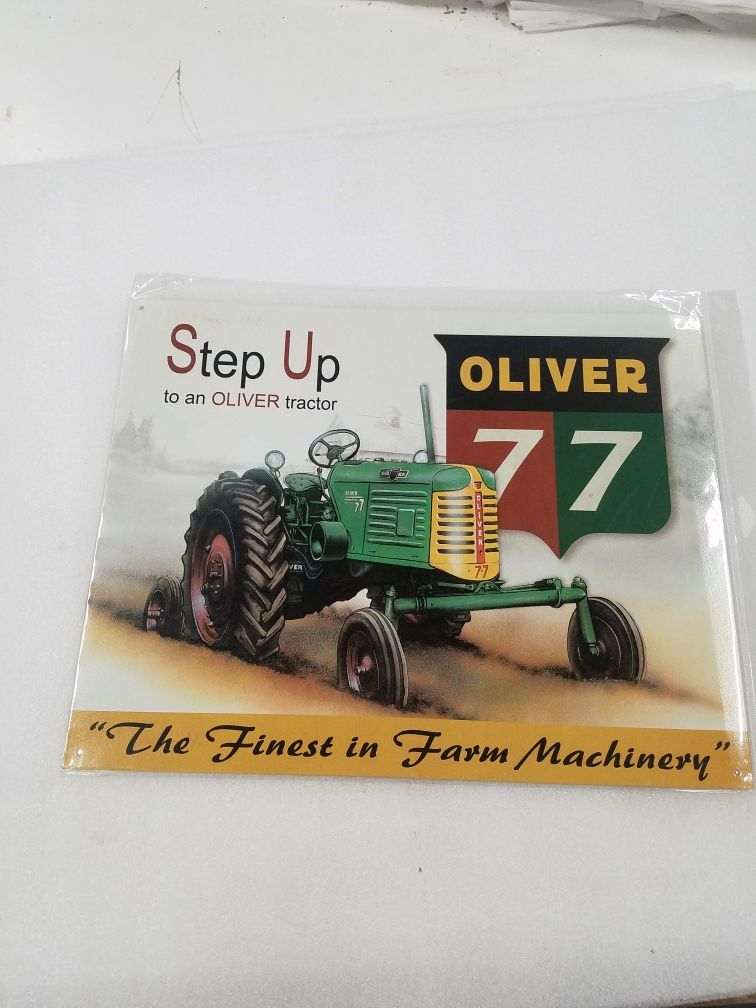 Oliver 77 farm tractor metal sign