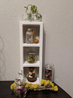 Wooden barrel apothecary jar moss stick glass vase crystal cup handmade fairy jar incense sticks wood round base hurricane candle holder potpourri Thumbnail