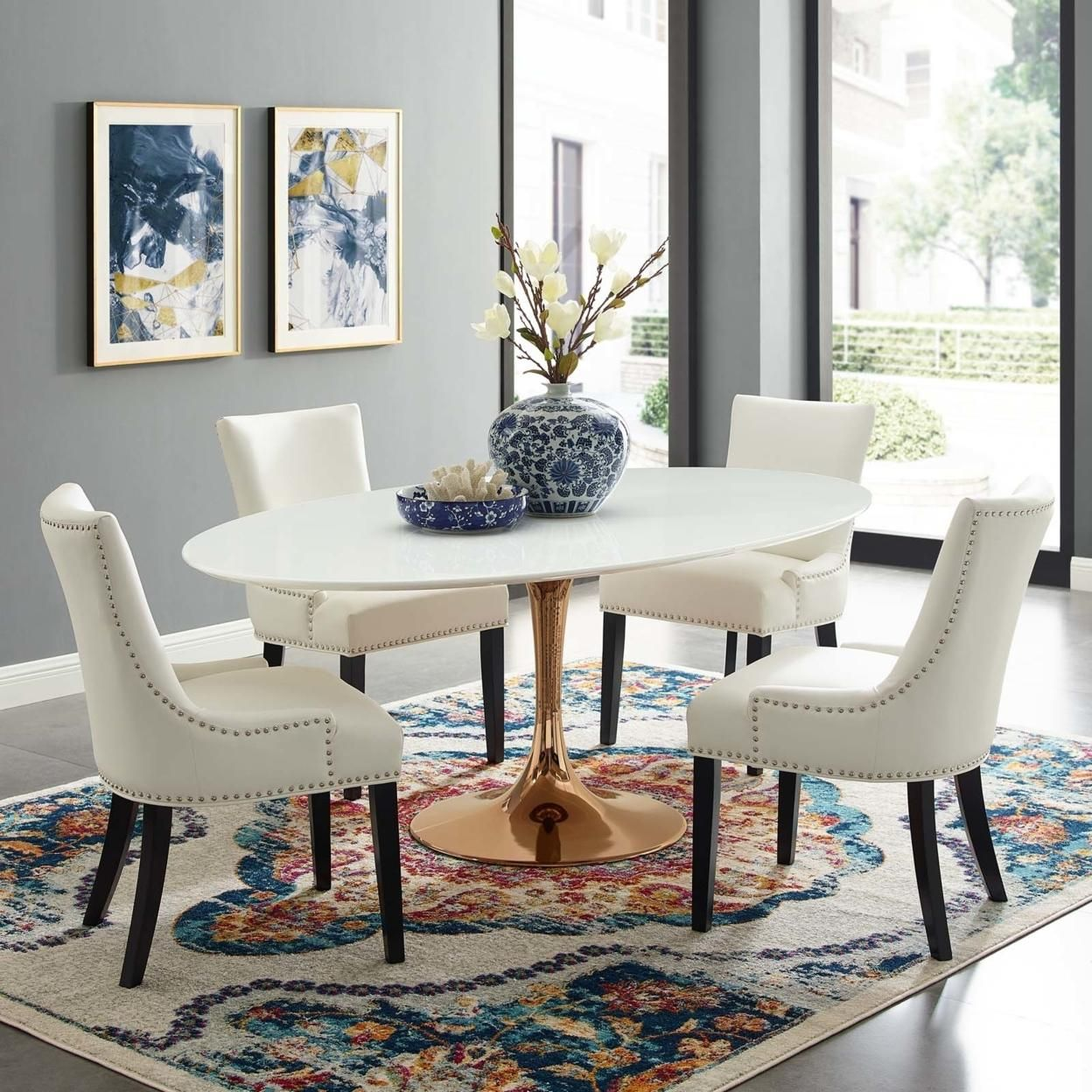 """Lippa 78"""" Oval Dining Table (3259-ROS-WHI)"""