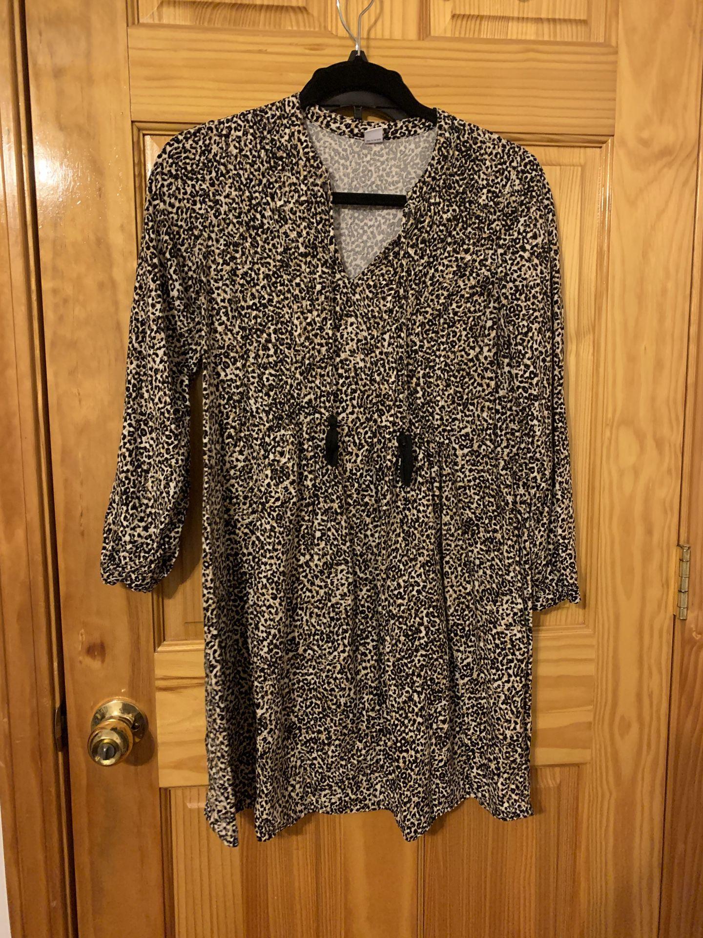 Cheetah Print Summer Dress Light Fabric Size Small
