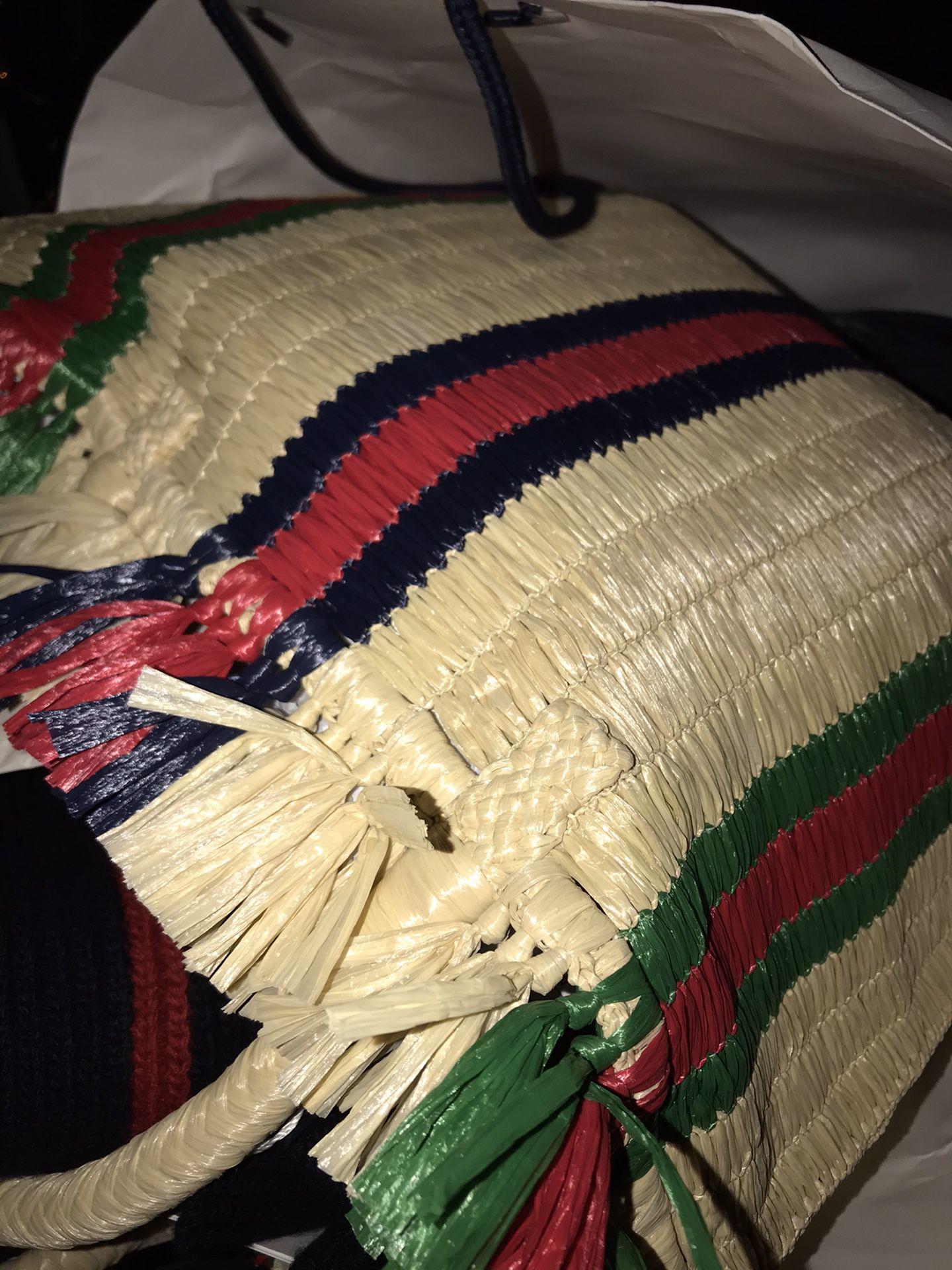 Gucci straw tote bag