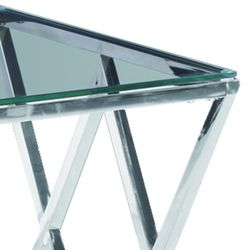 Saltoro Sherpi Diamond Shaped Metal Accent Table with Glass Top, Silver Thumbnail