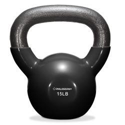 Philosophy Gym Vinyl Coated Cast Iron Kettlebell Weight 15 lbs - Black Thumbnail