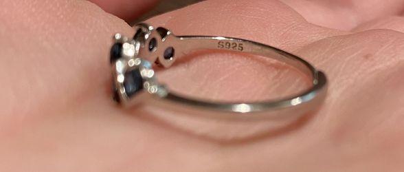Elegant Unique Natural London Blue Topaz Zig Zag Silver Ring S925 Thumbnail