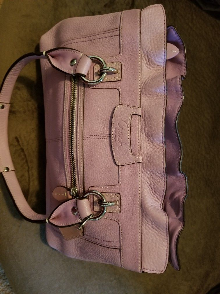 Leather Lavender Coach Bag