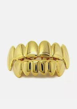 14k gold plated Hip Hop teeth Grillze caps top & bottom Thumbnail