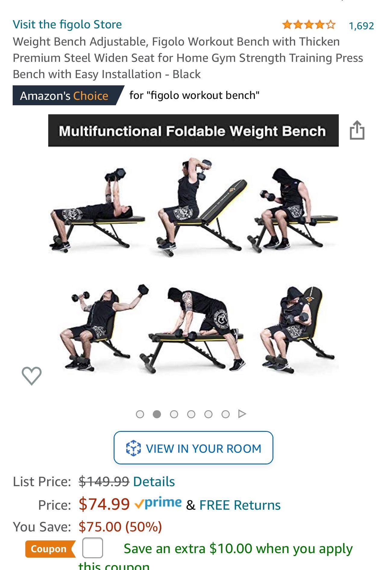 Weight Bench Adjustable, Figolo Workout Bench with Thicken Premium Steel Widen Seat for Home Gym Strength Training Press Bench with Easy Installation
