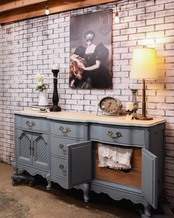 Gorgeous French Provincial Blue And Wood Dresser Thumbnail
