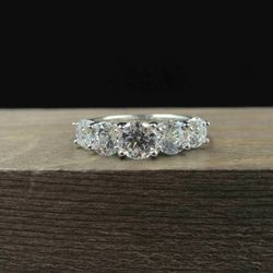 Size 7 Sterling Silver Five Round Cubic Zirconia Band Ring Vintage Statement Engagement Wedding Promise Anniversary Cocktail Friendship Thumbnail
