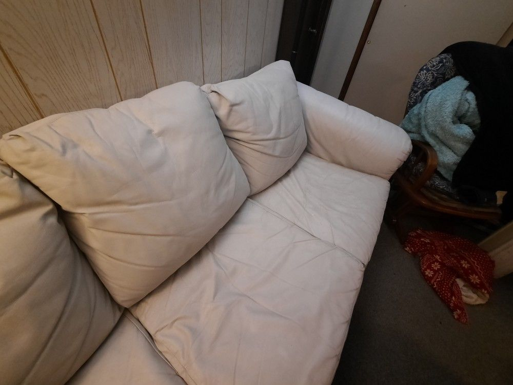 White/Cream Colored Leather Couch
