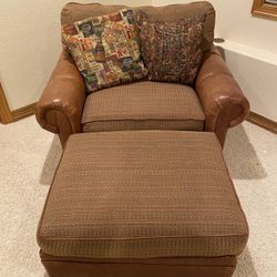 Oversized Leather Chair with Ottoman Thumbnail