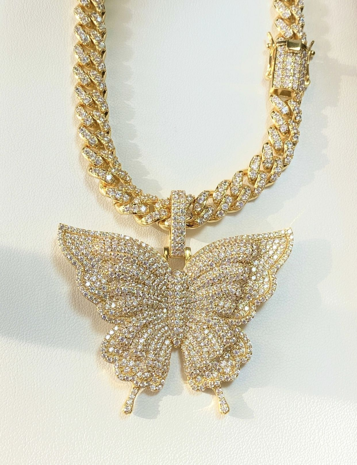 """Women's 16"""" Miami Cuban Link Chain Necklace, 14K Gold 5X Layered Chain, Butterfly Necklace, CZ Diamond, Butterfly Choker, ICY Necklace, Chain"""