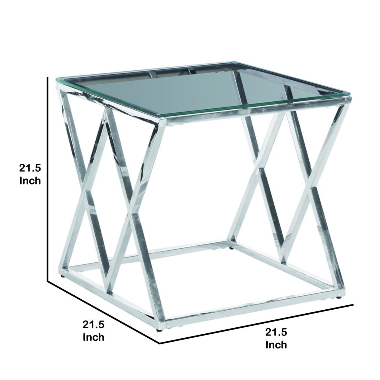 Saltoro Sherpi Diamond Shaped Metal Accent Table with Glass Top, Silver