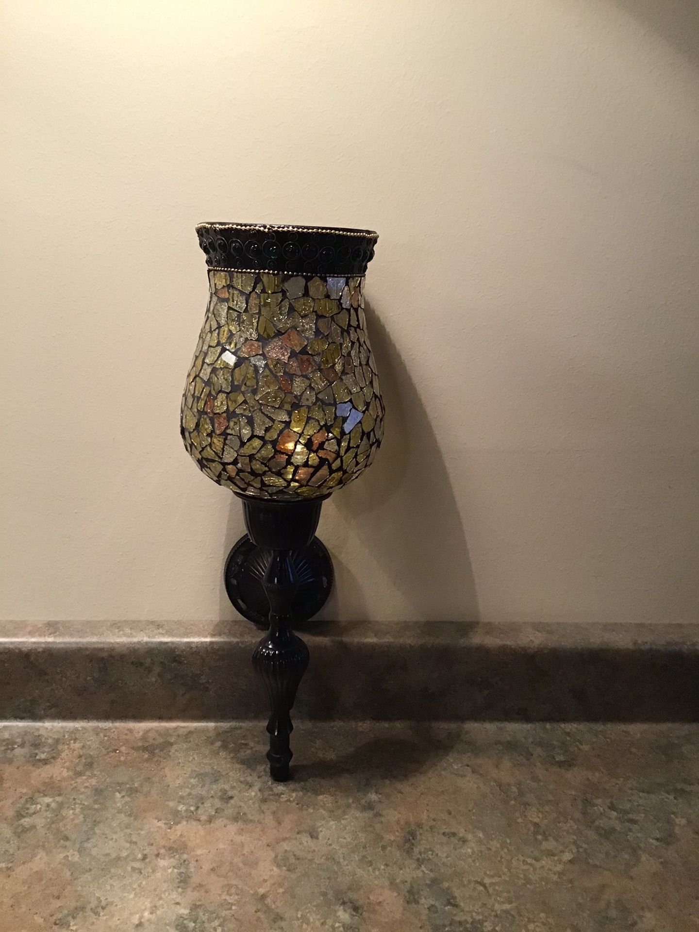 Mosaic glass and black metal wall sconce