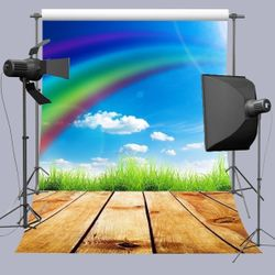 Background 5x7ft Rainbow and Wood Floor Backdrop Photo Booth Photography Props Thumbnail