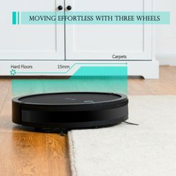 Costway Robot Vacuum Cleaner Self-Charge App Voice Control Filter Water Tank Black Thumbnail