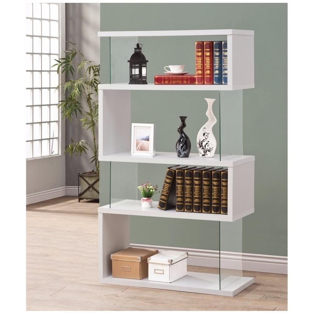 Fantastic glossy white wooden bookcase