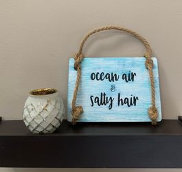 Ocean Air & Salty Hair Painted Wood Sign Thumbnail
