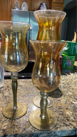 Glass / gold candle holders Thumbnail