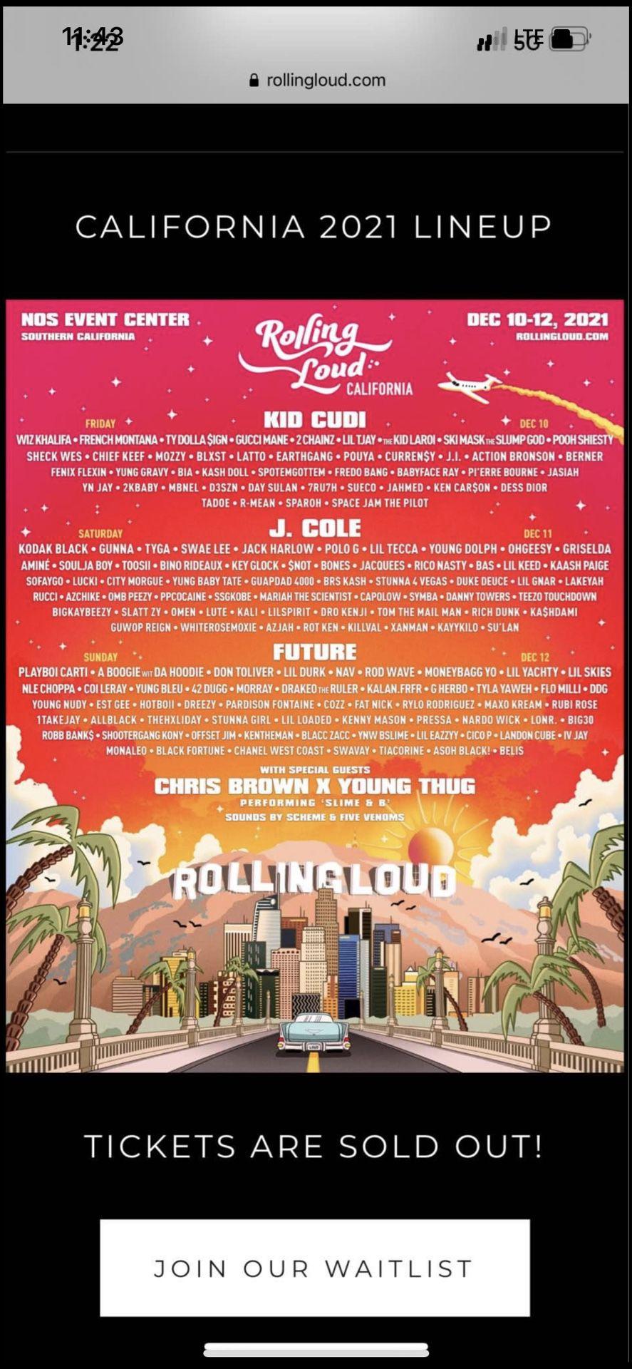 2 GA Rolling Loud Tickets