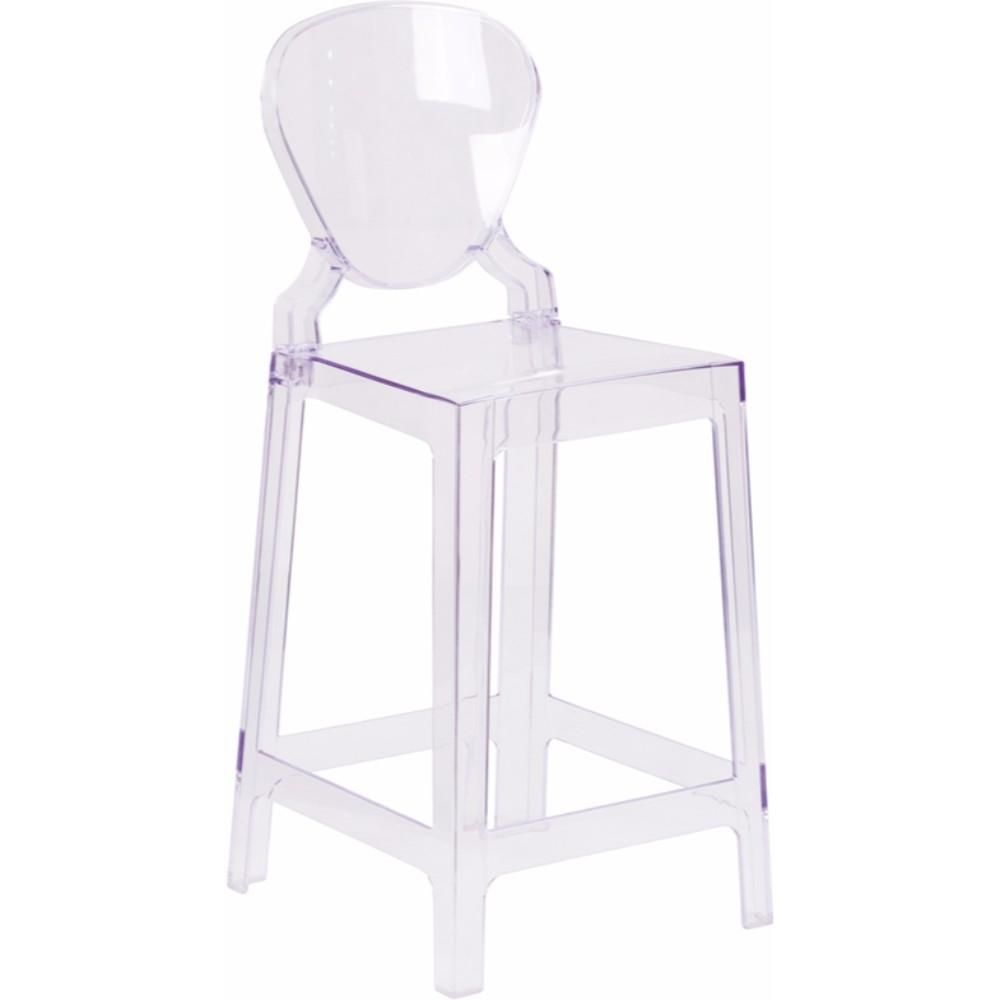 Ghost Counter Stool in Transparent Crystal with Tear Back [OW-TEARBACK-24-GG]