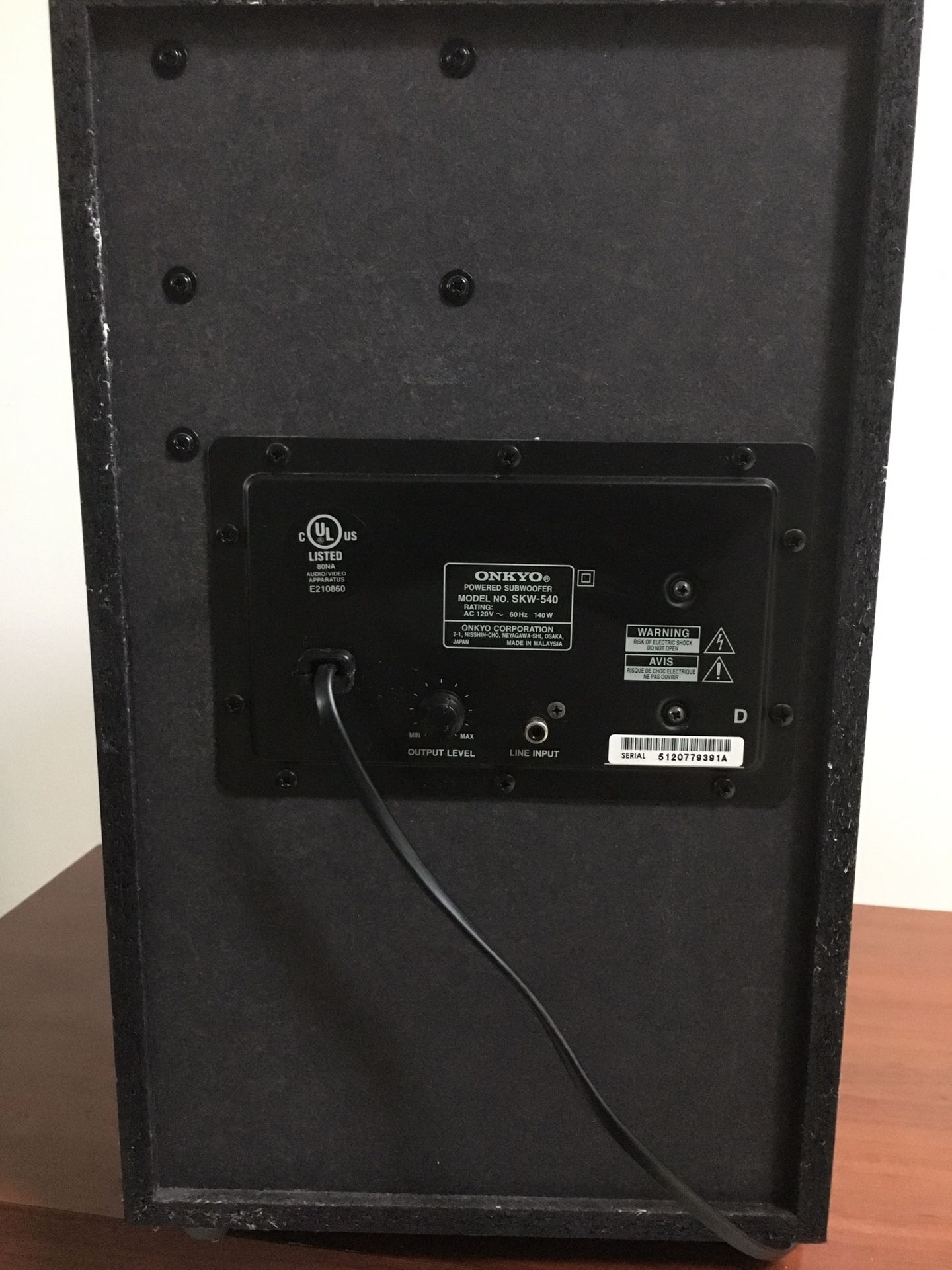 Onkyo SKW 540 powered subwoofer!!