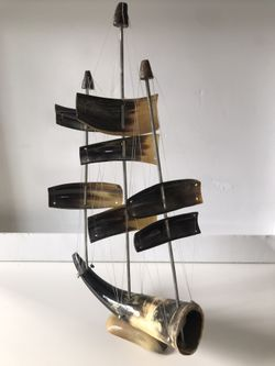 Handcrafted Sail Ship Cow Horn 3 Masts Nautical Decor Souvenir. Height 18in, length 10in. Thumbnail