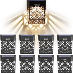 Solar Deck Lights, Solar Fence Lights Outdoor Waterproof LED Garden Decorative Lighting for Post,Patio, Front Door, Step, Stair, Landscape and Yard, W Thumbnail