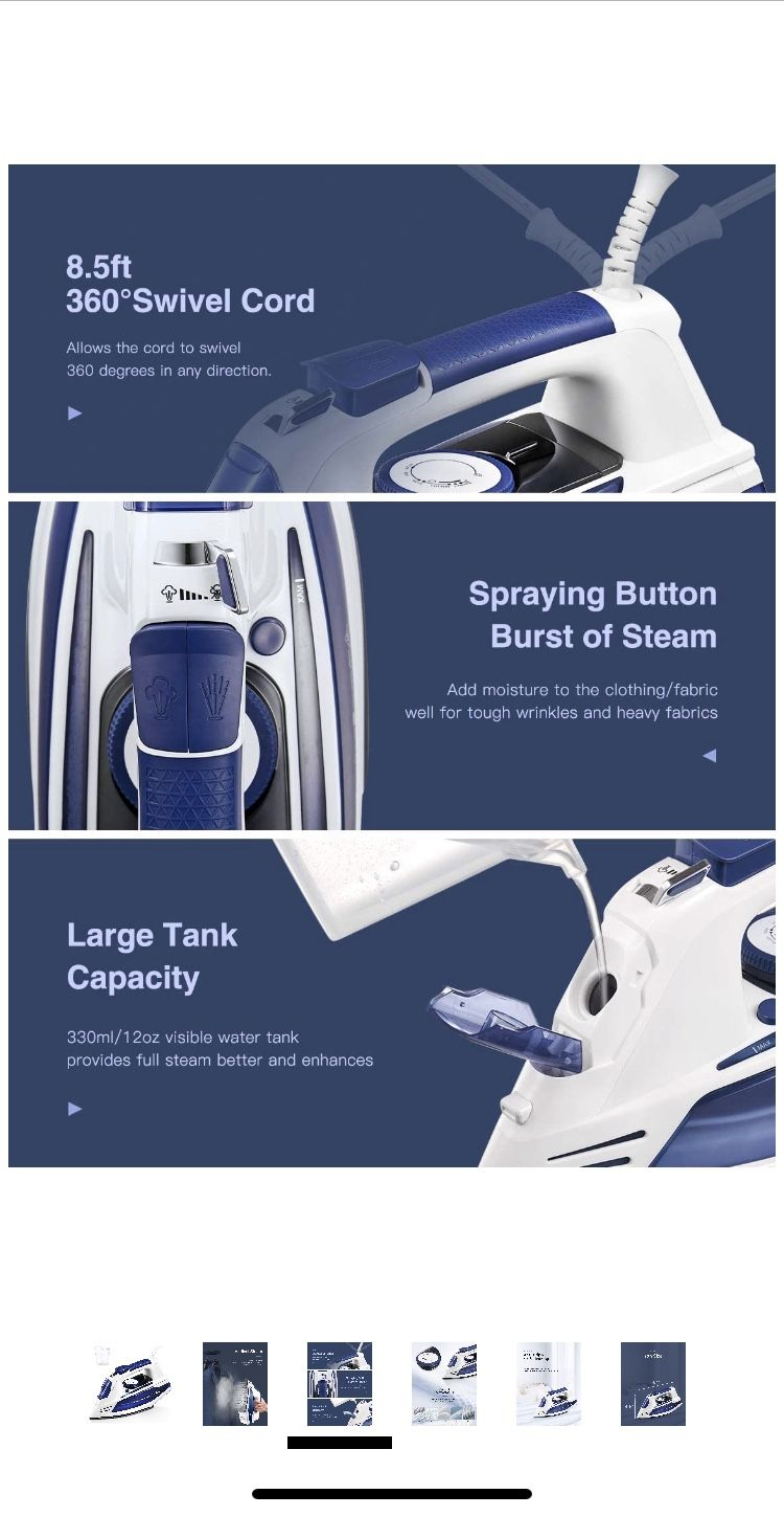 Yabano Steam Iron, Professional Iron for Clothes with Non-Stick Soleplate, Anti-Drip, Anti-Calc, Variable Temperature and Steam Control, Axial Aligned