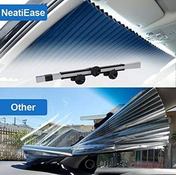"""Retractable Double Layer Honeycomb Sun Shade Windshield Cover for Cars with Strong Suction Cup 25.6""""x 56.7"""" Max Size Thumbnail"""