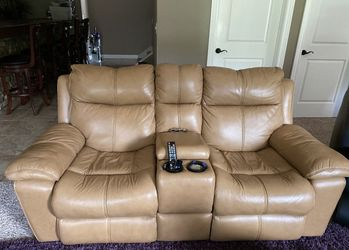 Tan leather sofa set is for sale Ana- they are power recliners. Price 1600 Thumbnail