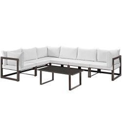 Fortuna 7 Piece Outdoor Patio Sectional Sofa Set, Brown White Thumbnail