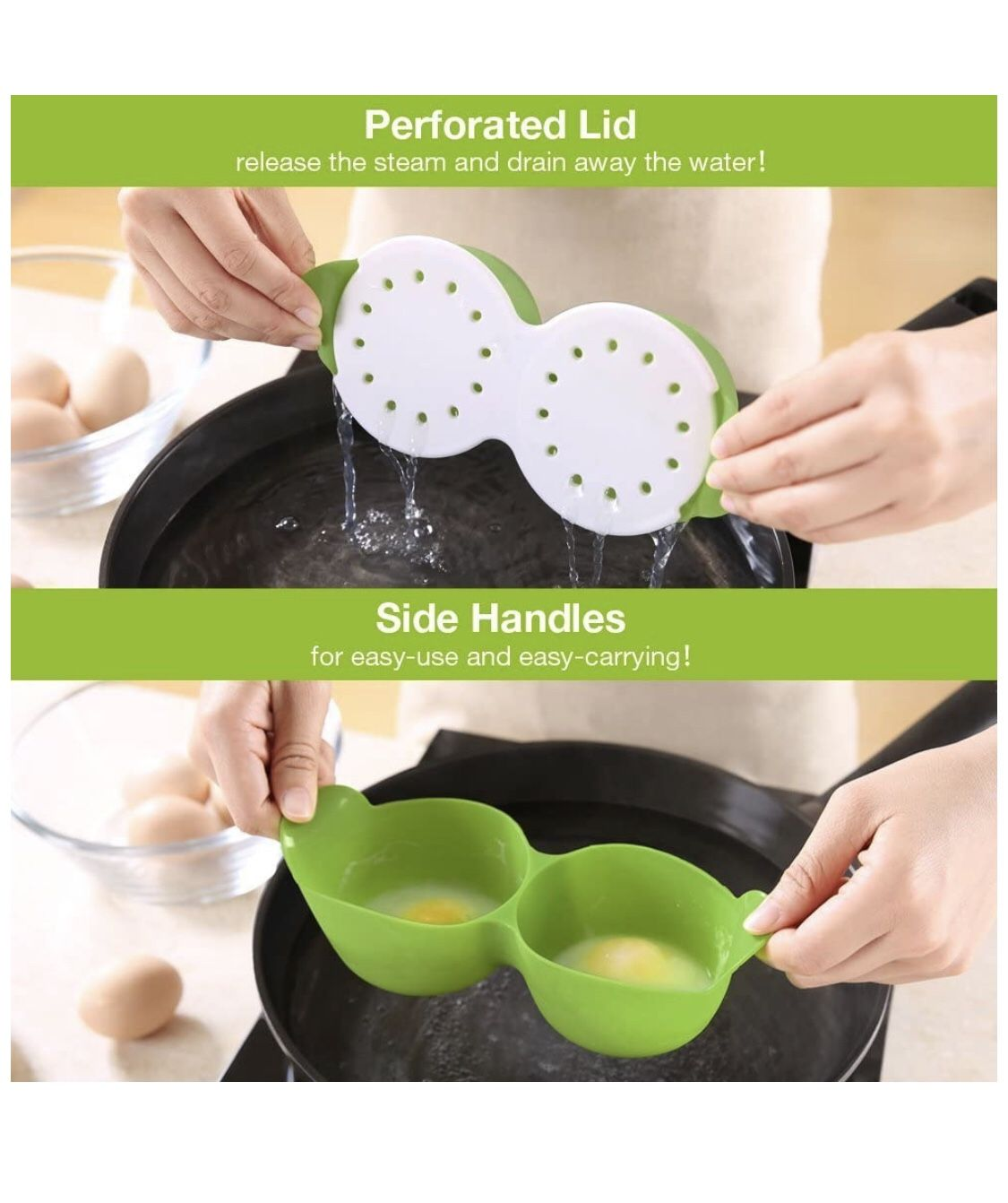 Egg Poacher, Cozzine Egg Cooker Silicone Egg Poaching Cups with Ring Standers,