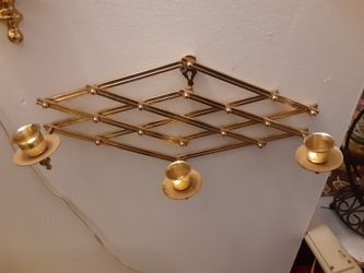 VERY NICE LOOKING Solid BRASS CANDLE HOLDER you can ADJUST IT TO short ARE Long HOLES 3 CANDLES Thumbnail