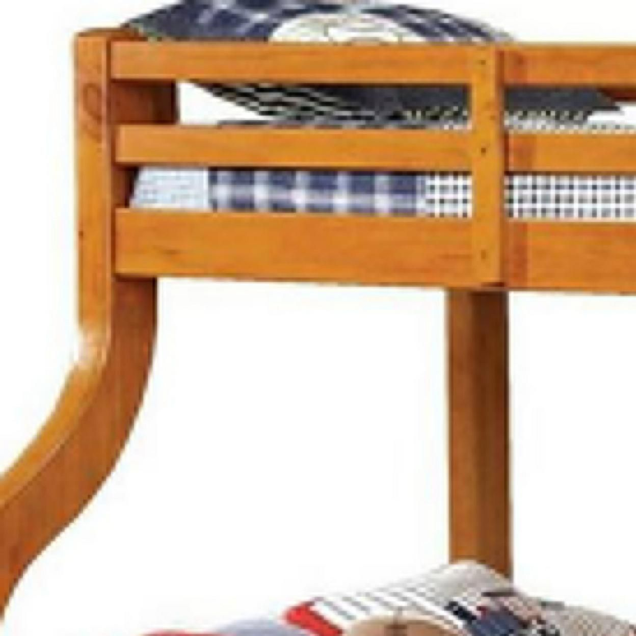Saltoro Sherpi Curved Design Twin Over Full Bed with Attached Ladder, Oak Brown