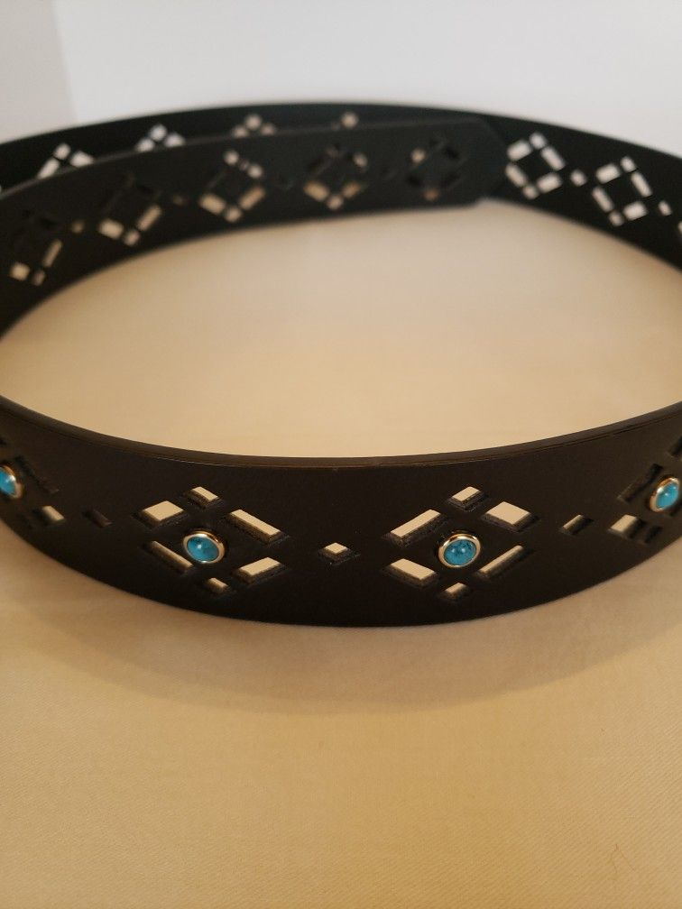 Womens 2XL black belt with turquoise accents