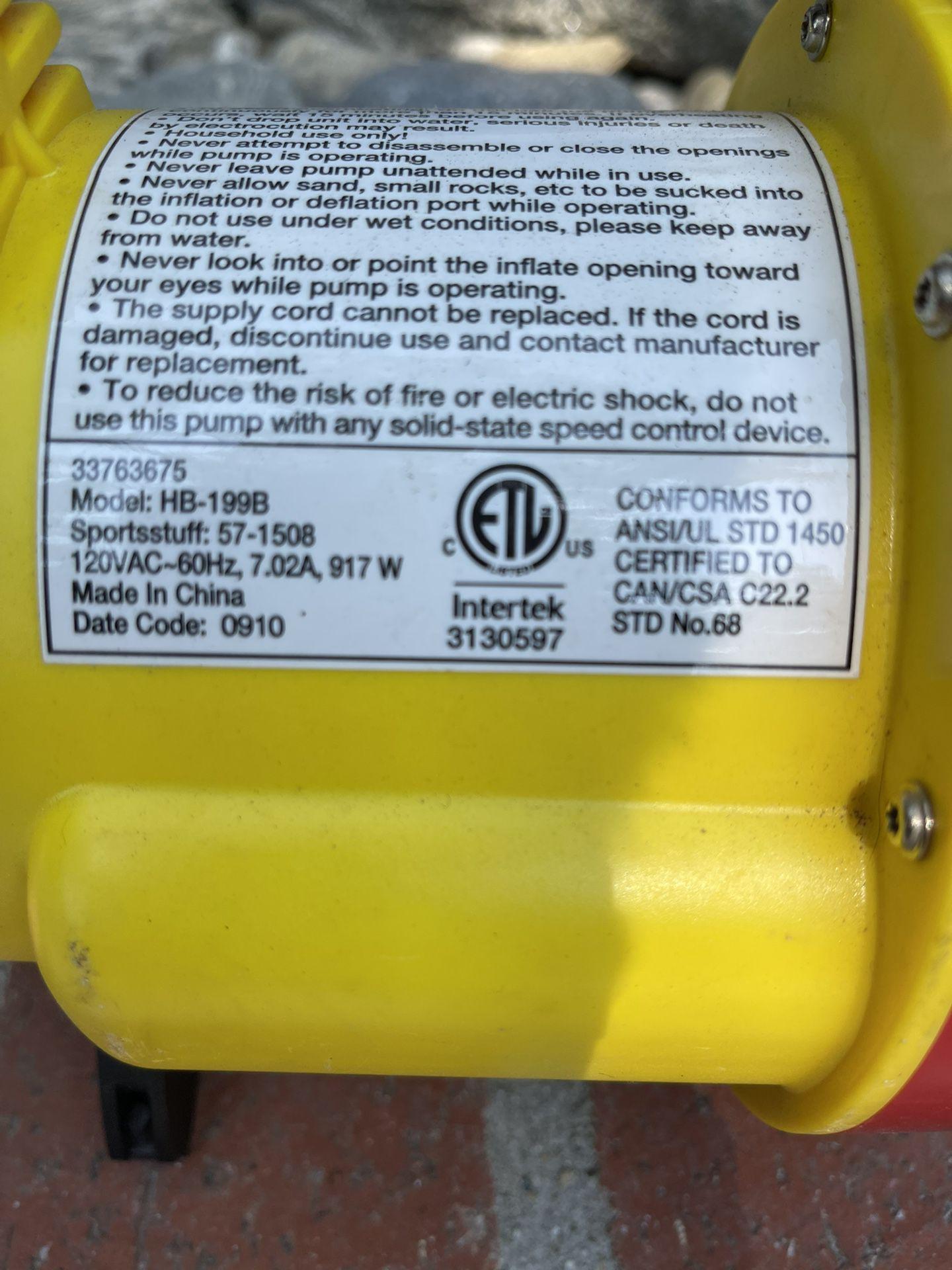 Powerful Inner tube /raft Inflator /deflator electric pump