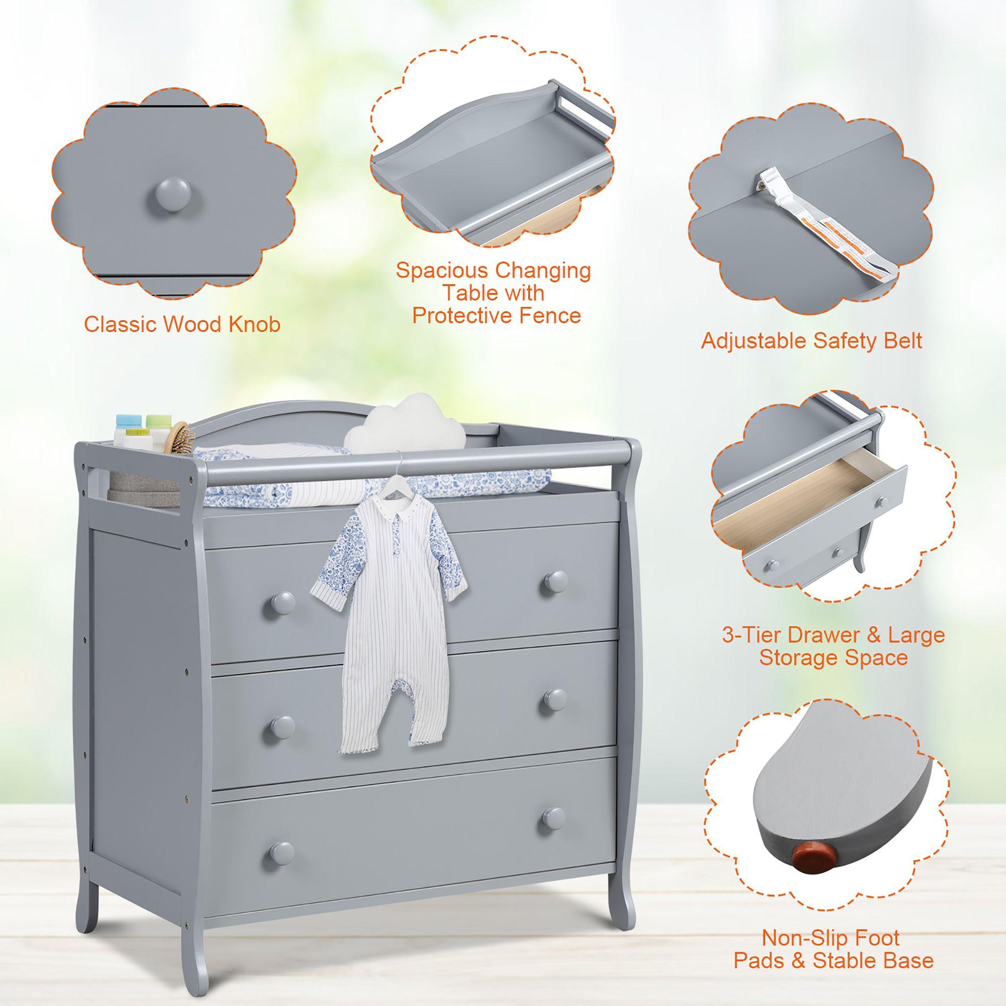 Costway 3-Drawer Dresser Changing Table w/Safety Belt Guardrails for Kids' Room