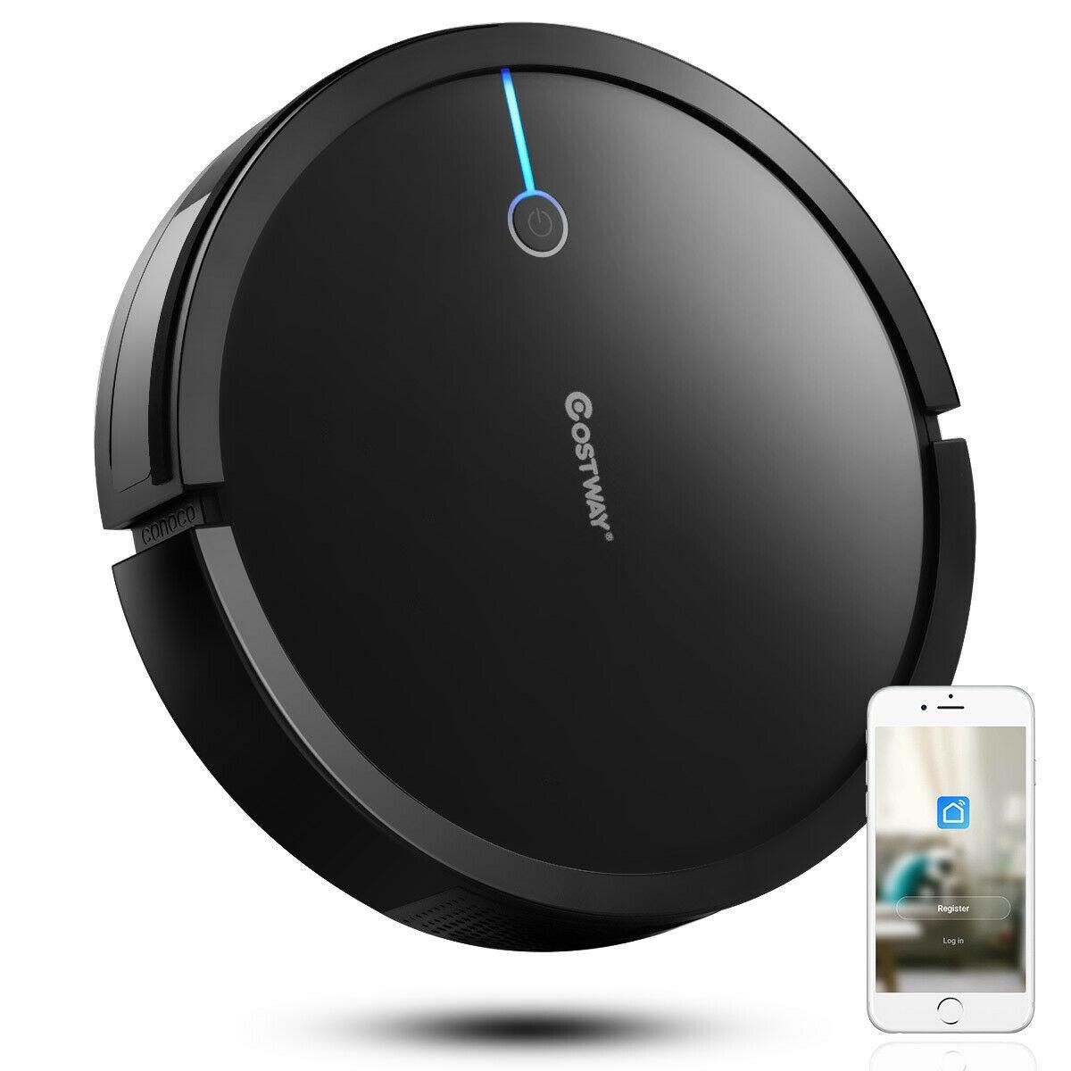 Costway Robot Vacuum Cleaner Self-Charge App Voice Control Filter Water Tank WhiteBlack