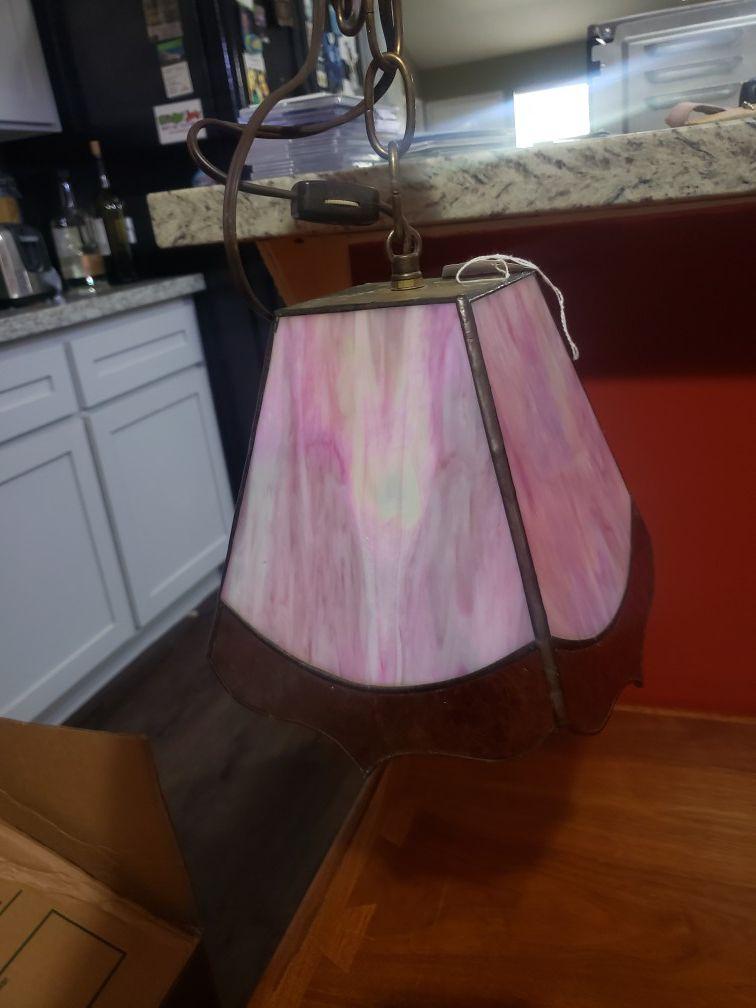 Vintage pink hanging lamp